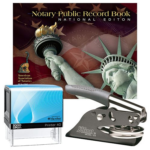 Notary Supplies Deluxe Package (All States) - Microban Stamp and Your Choice of Embosser