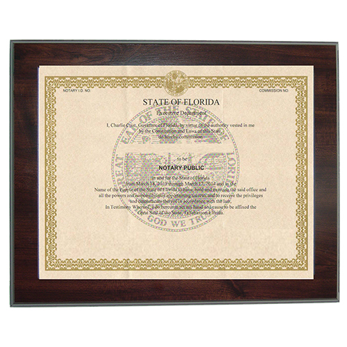Kansas Notary Commission Certificate Frame 8.5 x 11 Inches