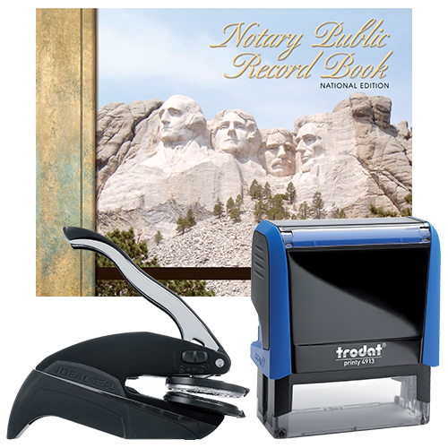 Kansas Notary Supplies Deluxe Package - Trodat P4 Stamp and Choice of EZ OR Dual-use Embosser